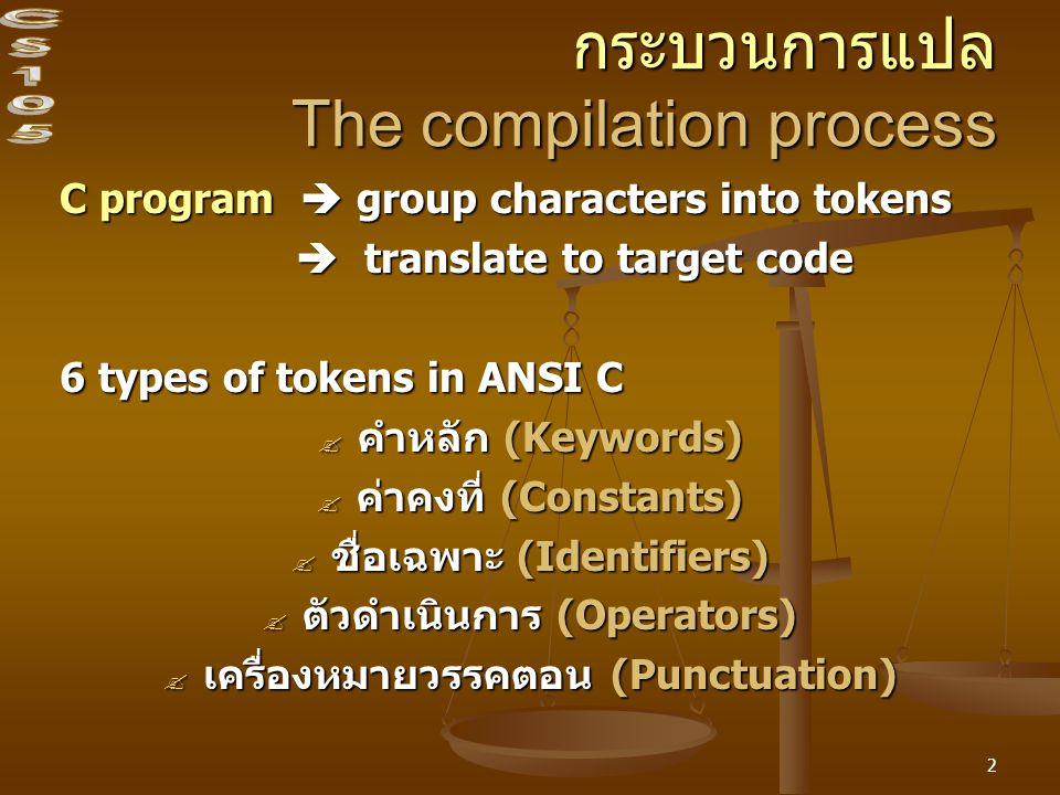 2 กระบวนการแปล The compilation process C program  group characters into tokens  translate to target code  translate to target code 6 types of tokens in ANSI C  คำหลัก (Keywords)  ค่าคงที่ (Constants)  ชื่อเฉพาะ (Identifiers)  ตัวดำเนินการ (Operators)  เครื่องหมายวรรคตอน (Punctuation)