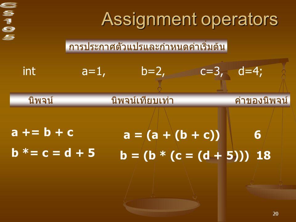 20 Assignment operators int a=1, b=2,c=3, d=4; การประกาศตัวแปรและกำหนดค่าเริ่มต้น นิพจน์ นิพจน์เทียบเท่า ค่าของนิพจน์ a += b + c b *= c = d + 5 a = (a + (b + c)) 6 b = (b * (c = (d + 5))) 18