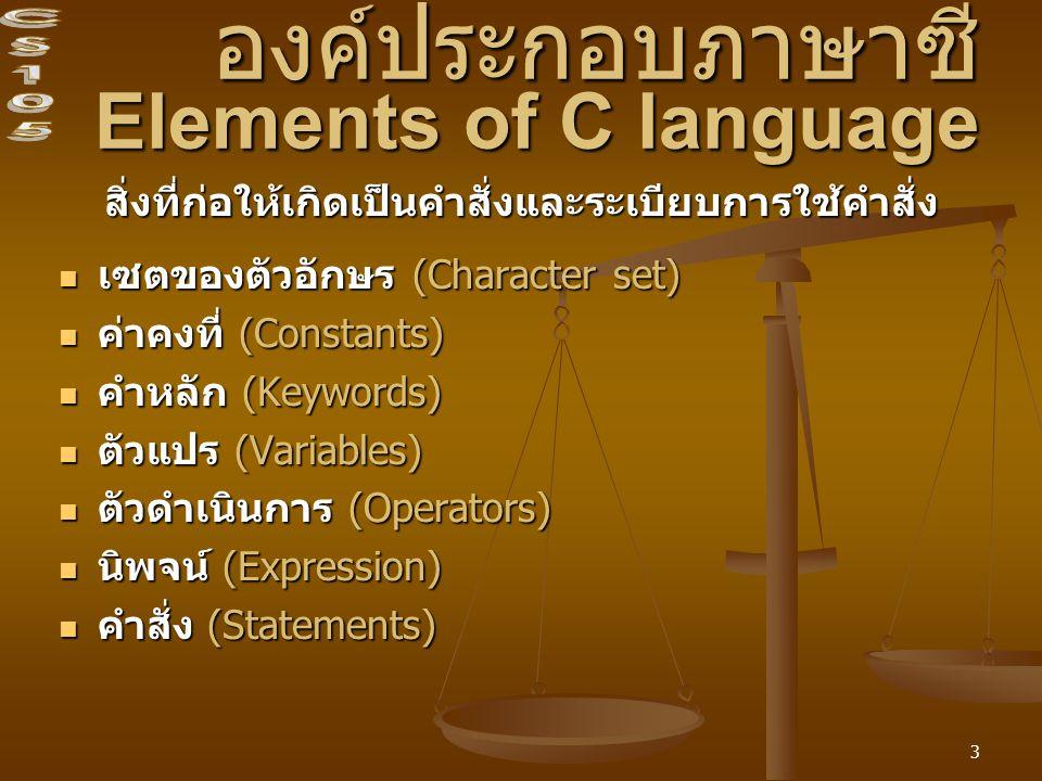 3 องค์ประกอบภาษาซี Elements of C language สิ่งที่ก่อให้เกิดเป็นคำสั่งและระเบียบการใช้คำสั่ง เซตของตัวอักษร (Character set) เซตของตัวอักษร (Character set) ค่าคงที่ (Constants) ค่าคงที่ (Constants) คำหลัก (Keywords) คำหลัก (Keywords) ตัวแปร (Variables) ตัวแปร (Variables) ตัวดำเนินการ (Operators) ตัวดำเนินการ (Operators) นิพจน์ (Expression) นิพจน์ (Expression) คำสั่ง (Statements) คำสั่ง (Statements)