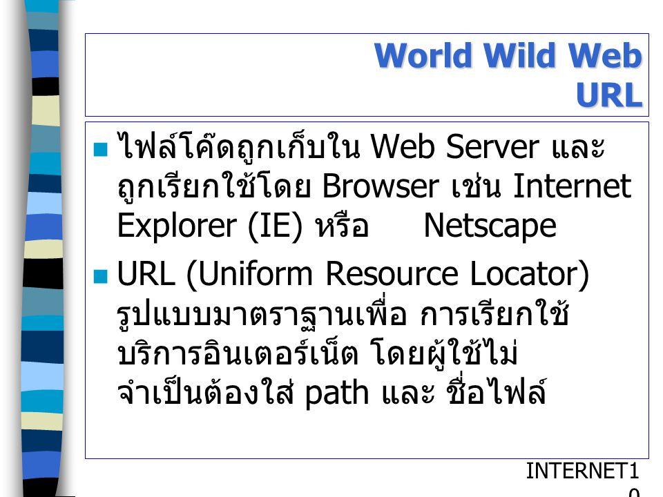 INTERNET1010 World Wild Web URL ไฟล์โค๊ดถูกเก็บใน Web Server และ ถูกเรียกใช้โดย Browser เช่น Internet Explorer (IE) หรือ Netscape URL (Uniform Resourc