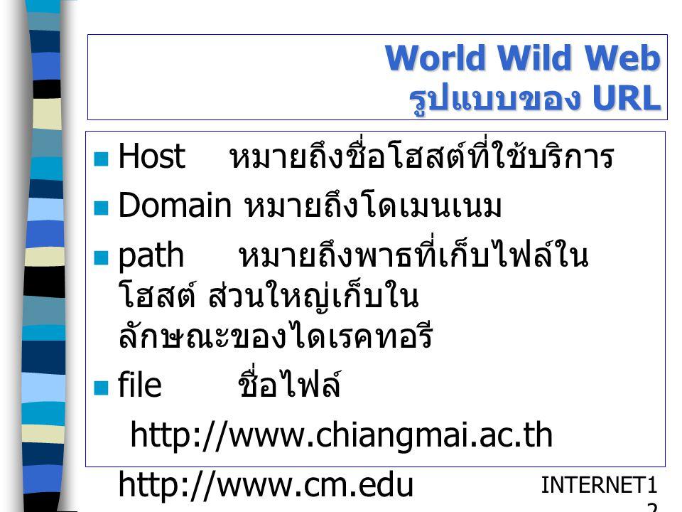 INTERNET1212 World Wild Web รูปแบบของ URL Host หมายถึงชื่อโฮสต์ที่ใช้บริการ Domain หมายถึงโดเมนเนม path หมายถึงพาธที่เก็บไฟล์ใน โฮสต์ ส่วนใหญ่เก็บใน ล