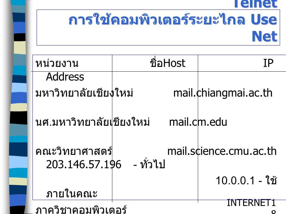 INTERNET1818 Telnet การใช้คอมพิวเตอร์ระยะไกล Use Net หน่วยงานชื่อ Host IP Address มหาวิทยาลัยเชียงใหม่ mail.chiangmai.ac.th นศ. มหาวิทยาลัยเชียงใหม่ m