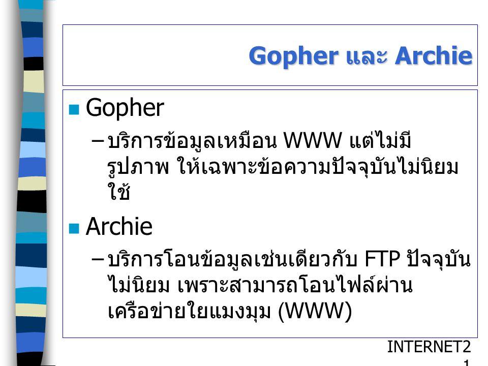 INTERNET2121 Gopher และ Archie Gopher – บริการข้อมูลเหมือน WWW แต่ไม่มี รูปภาพ ให้เฉพาะข้อความปัจจุบันไม่นิยม ใช้ Archie – บริการโอนข้อมูลเช่นเดียวกับ