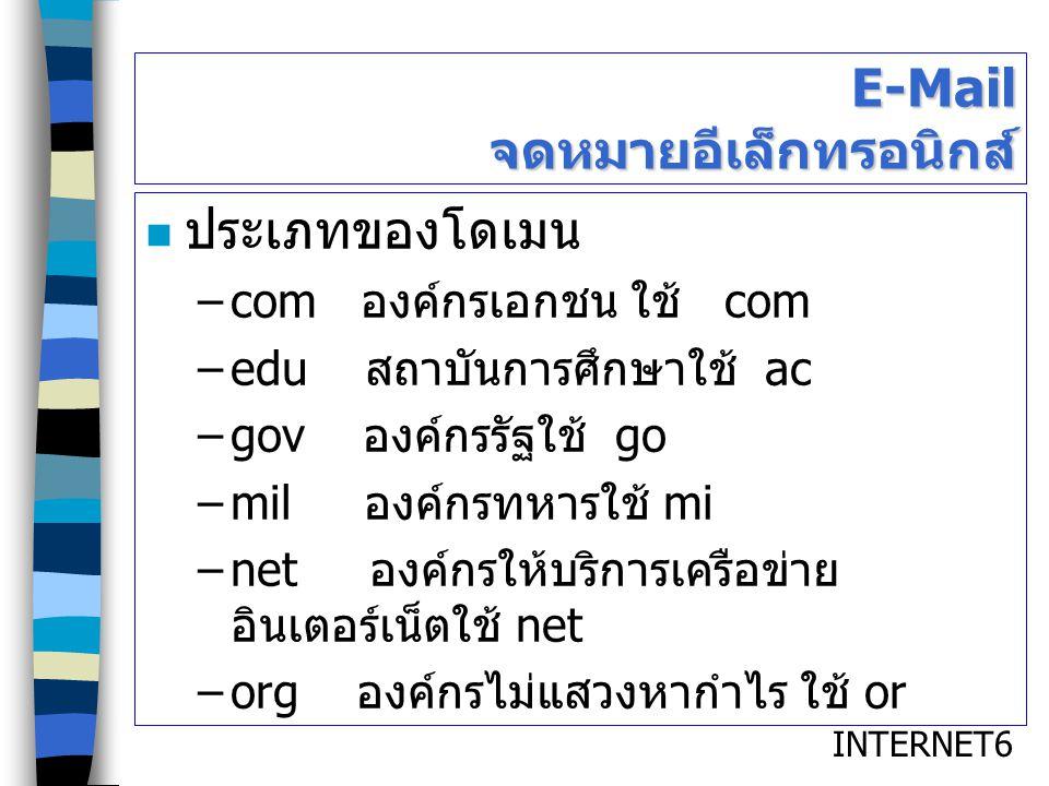 INTERNET6 E-Mail จดหมายอีเล็กทรอนิกส์ ประเภทของโดเมน –com องค์กรเอกชน ใช้ com –edu สถาบันการศึกษาใช้ ac –gov องค์กรรัฐใช้ go –mil องค์กรทหารใช้ mi –ne