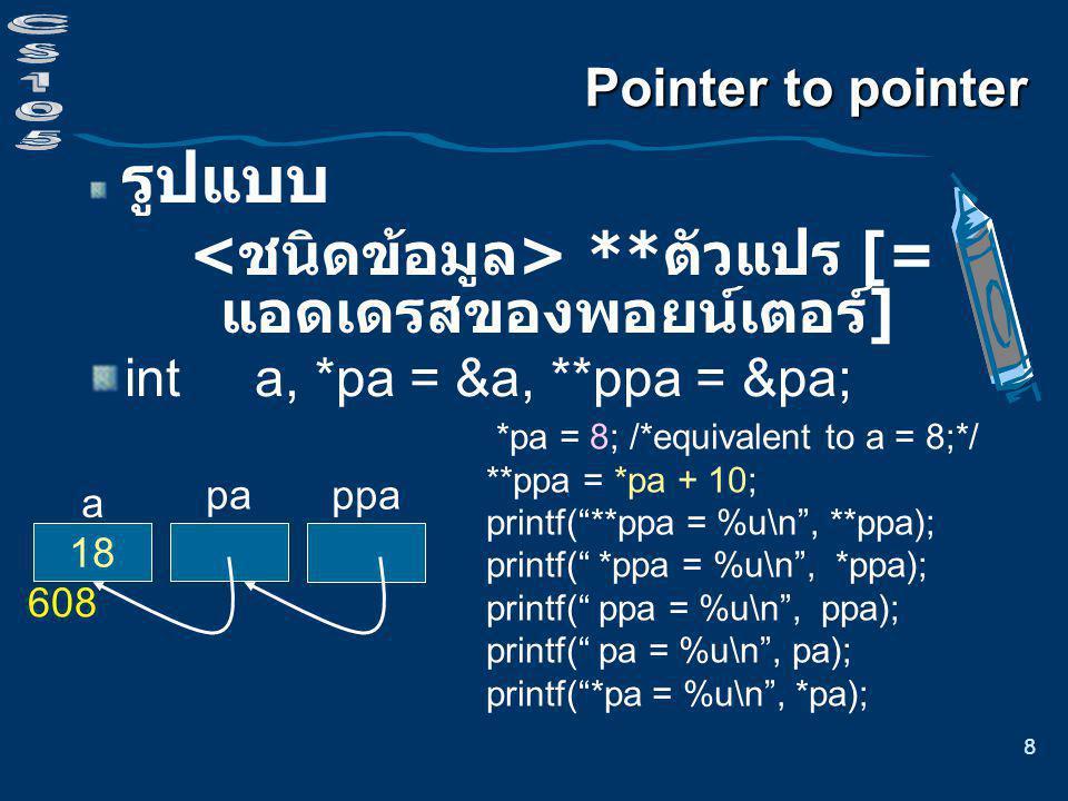 8 pa ppa ? a Pointer to pointer รูปแบบ ** ตัวแปร [= แอดเดรสของพอยน์เตอร์ ] int a, *pa = &a, **ppa = &pa; 608 *pa = 8; /*equivalent to a = 8;*/ **ppa =