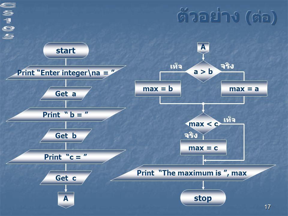 17 start Print Enter integer\na = Get a Print b = Get b Print c = Get c A a > b จริง เท็จ max = b A max < c max = c max = a Print The maximum is , max stop จริง เท็จ