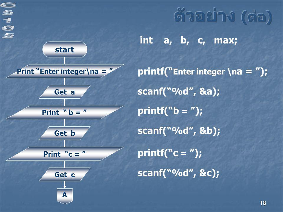 18 start Print Enter integer\na = Get a Print b = Get b Print c = Get c A printf( Enter integer \n a = ); scanf( %d , &a); int a, b, c, max; printf( b = ); scanf( %d , &b); printf( c = ); scanf( %d , &c);