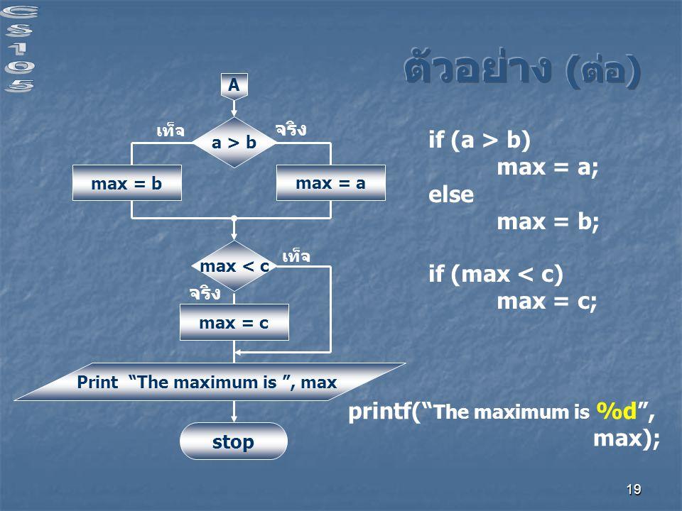 19 a > b จริง เท็จ max = b A max < c max = c max = a Print The maximum is , max stop จริง เท็จ if (a > b) max = a; else max = b; if (max < c) max = c; printf( The maximum is %d , max);
