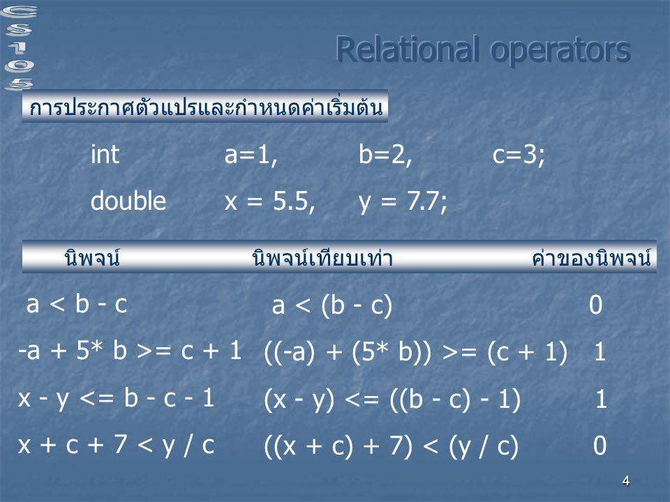 4 int a=1, b=2,c=3; double x = 5.5, y = 7.7; การประกาศตัวแปรและกำหนดค่าเริ่มต้น นิพจน์ นิพจน์เทียบเท่า ค่าของนิพจน์ a < b - c -a + 5* b >= c + 1 x - y <= b - c - 1 x + c + 7 < y / c a < (b - c) 0 ((-a) + (5* b)) >= (c + 1) 1 (x - y) <= ((b - c) - 1) 1 ((x + c) + 7) < (y / c) 0