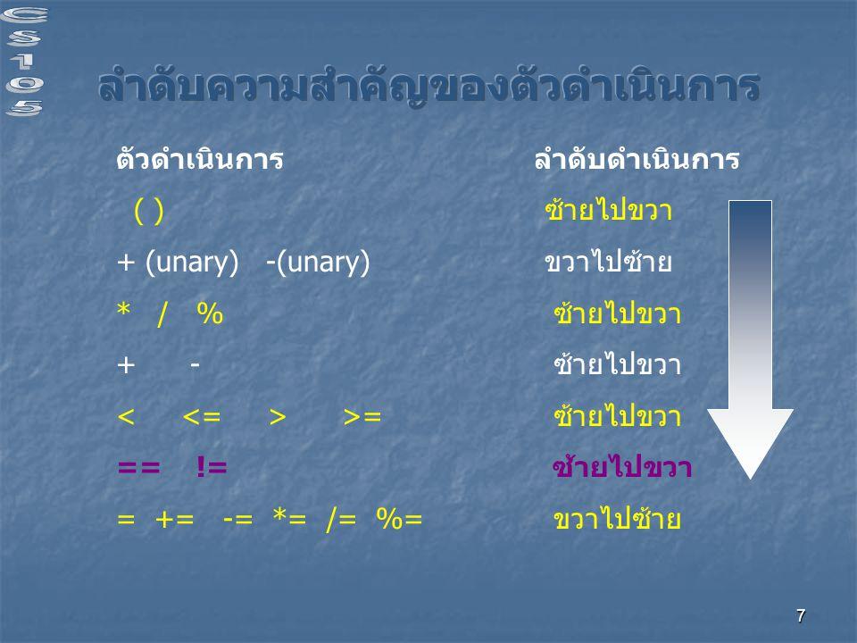7 ตัวดำเนินการ ลำดับดำเนินการ ( ) ซ้ายไปขวา + (unary) -(unary) ขวาไปซ้าย * / % ซ้ายไปขวา + - ซ้ายไปขวา >= ซ้ายไปขวา == != ซ้ายไปขวา = += -= *= /= %= ขวาไปซ้าย