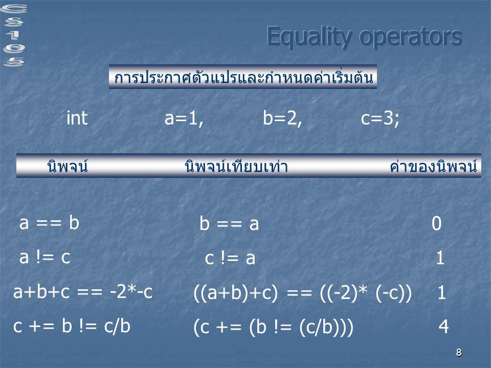8 int a=1, b=2,c=3; การประกาศตัวแปรและกำหนดค่าเริ่มต้น นิพจน์ นิพจน์เทียบเท่า ค่าของนิพจน์ a == b a != c a+b+c == -2*-c c += b != c/b b == a 0 c != a 1 ((a+b)+c) == ((-2)* (-c)) 1 (c += (b != (c/b))) 4