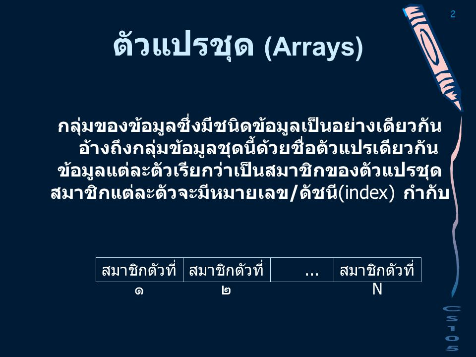 13 ตัวอย่าง // Demonstrate array and address of elements # include void main ( ) { int indx, data [5] = {10, 20, 30, 40, 50}; printf( Starting address of array is %u\n , data); for (indx=0; indx < 5; indx++) printf ( address of element %u = %u \t data is %d\n , indx+1, data+indx, *(data+indx)); }