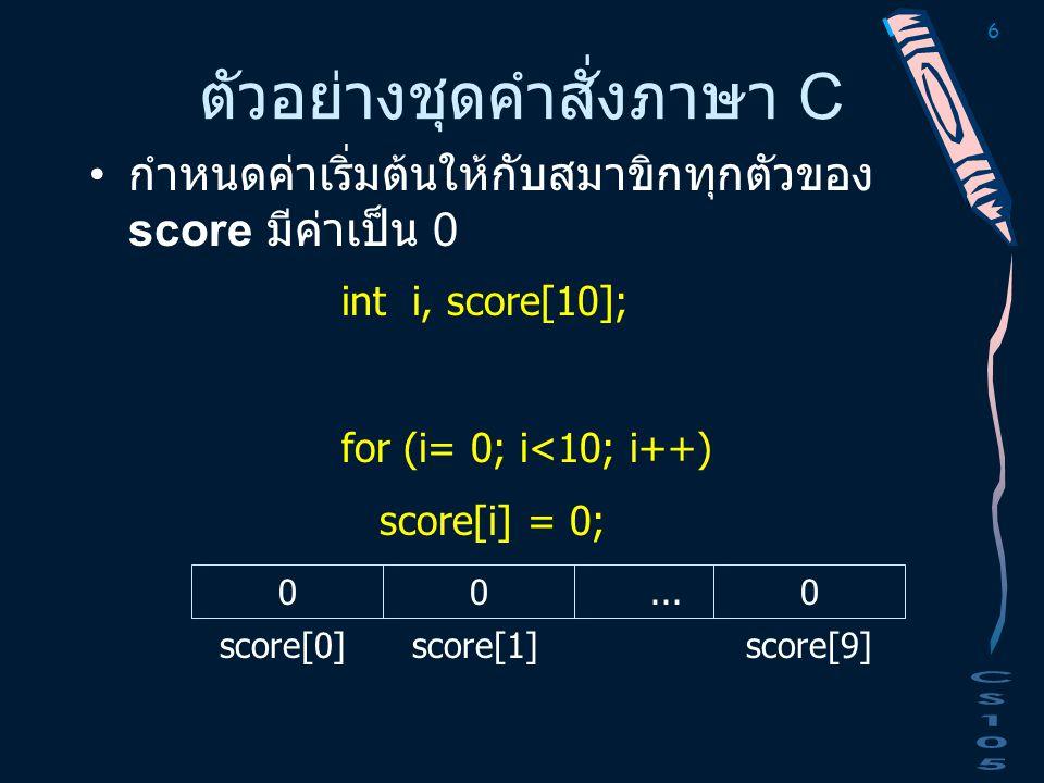 6 ตัวอย่างชุดคำสั่งภาษา C กำหนดค่าเริ่มต้นให้กับสมาขิกทุกตัวของ score มีค่าเป็น 0 000... score[0] score[1] score[9] int i, score[10]; for (i= 0; i<10;