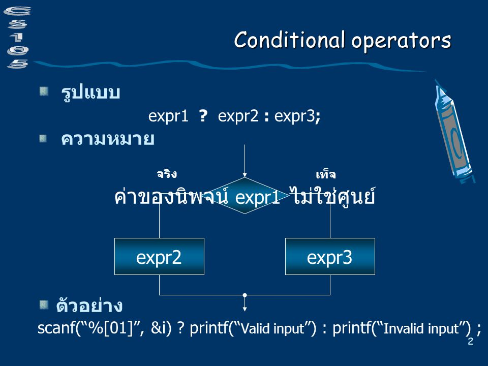 2 Conditional operators รูปแบบ expr1 . expr2 : expr3; ความหมาย ตัวอย่าง scanf( %[01] , &i) .