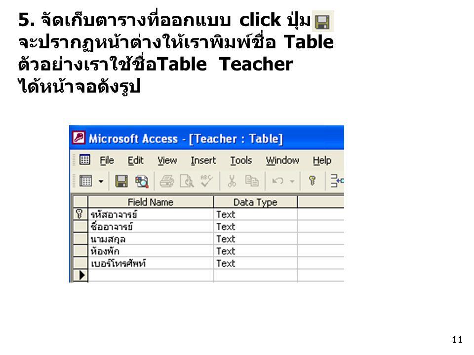 11 5. จัดเก็บตารางที่ออกแบบ click ปุ่ม จะปรากฏหน้าต่างให้เราพิมพ์ชื่อ Table ตัวอย่างเราใช้ชื่อTable Teacher ได้หน้าจอดังรูป
