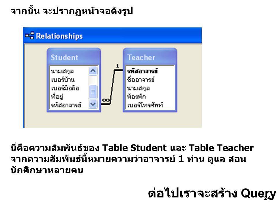 24 จากนั้น จะปรากฏหน้าจอดังรูป นี่คือความสัมพันธ์ของ Table Student และ Table Teacher จากความสัมพันธ์นี้หมายความว่าอาจารย์ 1 ท่าน ดูแล สอน นักศึกษาหลายคน ต่อไปเราจะสร้าง Query