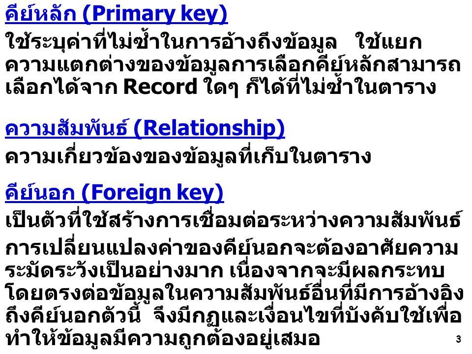 3 คีย์หลัก (Primary key) ใช้ระบุค่าที่ไม่ซ้ำในการอ้างถึงข้อมูล ใช้แยก ความแตกต่างของข้อมูลการเลือกคีย์หลักสามารถ เลือกได้จาก Record ใดๆ ก็ได้ที่ไม่ซ้ำในตาราง ความสัมพันธ์ (Relationship) ความเกี่ยวข้องของข้อมูลที่เก็บในตาราง คีย์นอก (Foreign key) เป็นตัวที่ใช้สร้างการเชื่อมต่อระหว่างความสัมพันธ์ การเปลี่ยนแปลงค่าของคีย์นอกจะต้องอาศัยความ ระมัดระวังเป็นอย่างมาก เนื่องจากจะมีผลกระทบ โดยตรงต่อข้อมูลในความสัมพันธ์อื่นที่มีการอ้างอิง ถึงคีย์นอกตัวนี้ จึงมีกฏและเงื่อนไขที่บังคับใช้เพื่อ ทำให้ข้อมูลมีความถูกต้องอยู่เสมอ