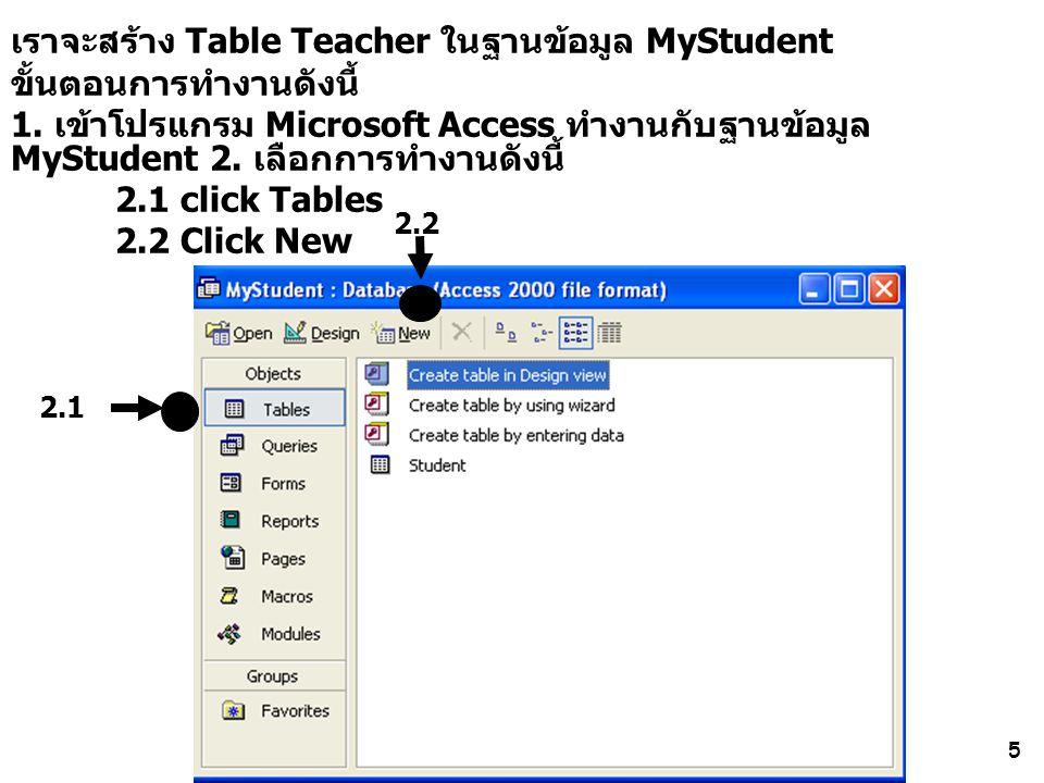 5 เราจะสร้าง Table Teacher ในฐานข้อมูล MyStudent ขั้นตอนการทำงานดังนี้ 1. เข้าโปรแกรม Microsoft Access ทำงานกับฐานข้อมูล MyStudent 2. เลือกการทำงานดัง