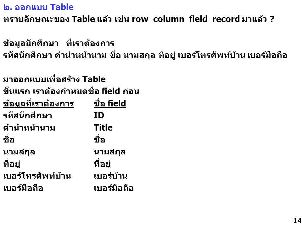 14 ๒. ออกแบบ Table ทราบลักษณะของ Table แล้ว เช่น row column field record มาแล้ว ? ข้อมูลนักศึกษา ที่เราต้องการ รหัสนักศึกษา คำนำหน้านาม ชื่อ นามสกุล ท
