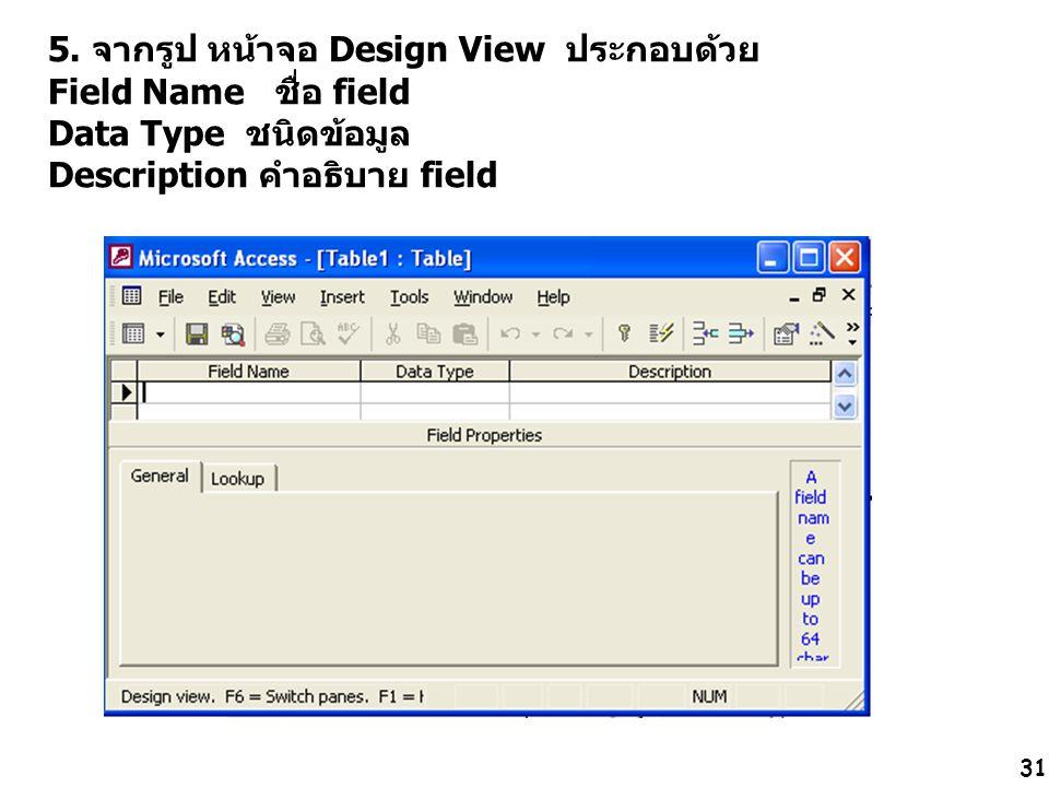 31 5. จากรูป หน้าจอ Design View ประกอบด้วย Field Name ชื่อ field Data Type ชนิดข้อมูล Description คำอธิบาย field