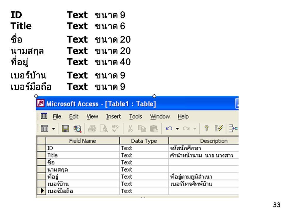33 IDText ขนาด 9 TitleText ขนาด 6 ชื่อ Text ขนาด 20 นามสกุล Text ขนาด 20 ที่อยู่ Text ขนาด 40 เบอร์บ้าน Text ขนาด 9 เบอร์มือถือ Text ขนาด 9