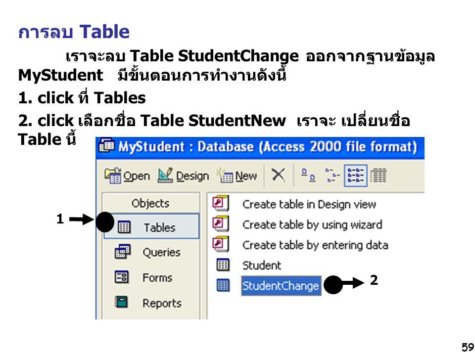 59 การลบ Table เราจะลบ Table StudentChange ออกจากฐานข้อมูล MyStudent มีขั้นตอนการทำงานดังนี้ 1. click ที่ Tables 2. click เลือกชื่อ Table StudentNew เ