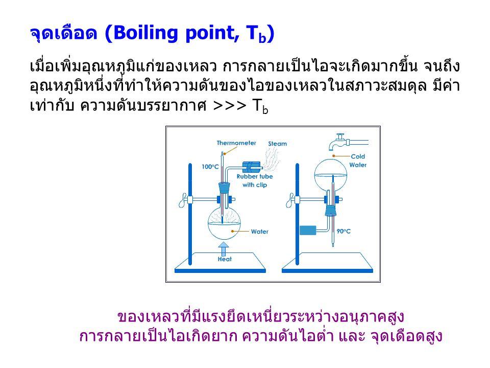 จุดเดือด (Boiling point, T b ) เมื่อเพิ่มอุณหภูมิแก่ของเหลว การกลายเป็นไอจะเกิดมากขึ้น จนถึง อุณหภูมิหนึ่งที่ทำให้ความดันของไอของเหลวในสภาวะสมดุล มีค่