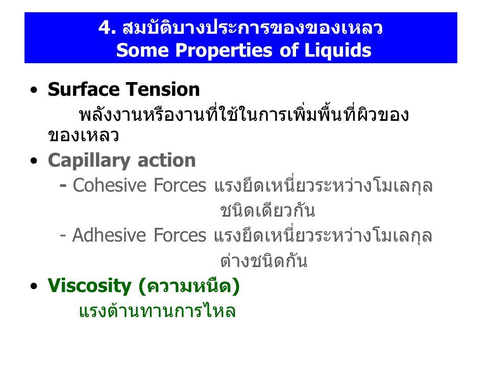 4. สมบัติบางประการของของเหลว Some Properties of Liquids Surface Tension พลังงานหรืองานที่ใช้ในการเพิ่มพื้นที่ผิวของ ของเหลว Capillary action - Cohesiv