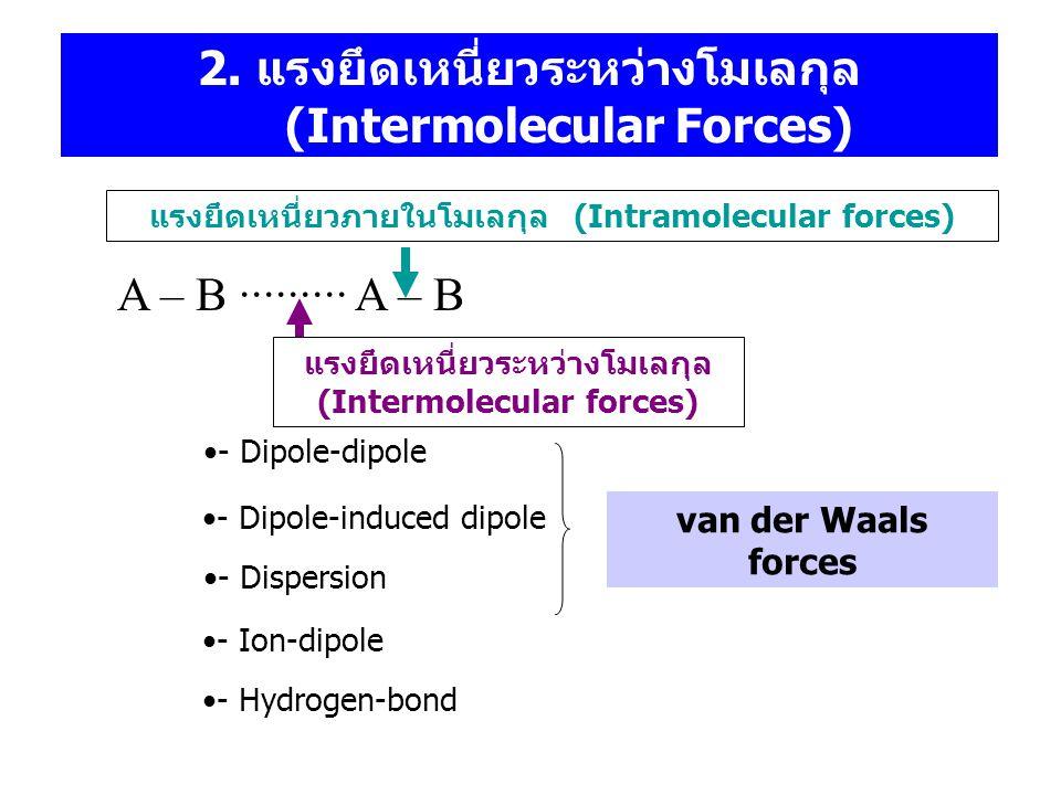 2. แรงยึดเหนี่ยวระหว่างโมเลกุล (Intermolecular Forces) A – B ∙∙∙∙∙∙∙∙∙ A – B แรงยึดเหนี่ยวภายในโมเลกุล (Intramolecular forces) แรงยึดเหนี่ยวระหว่างโมเ