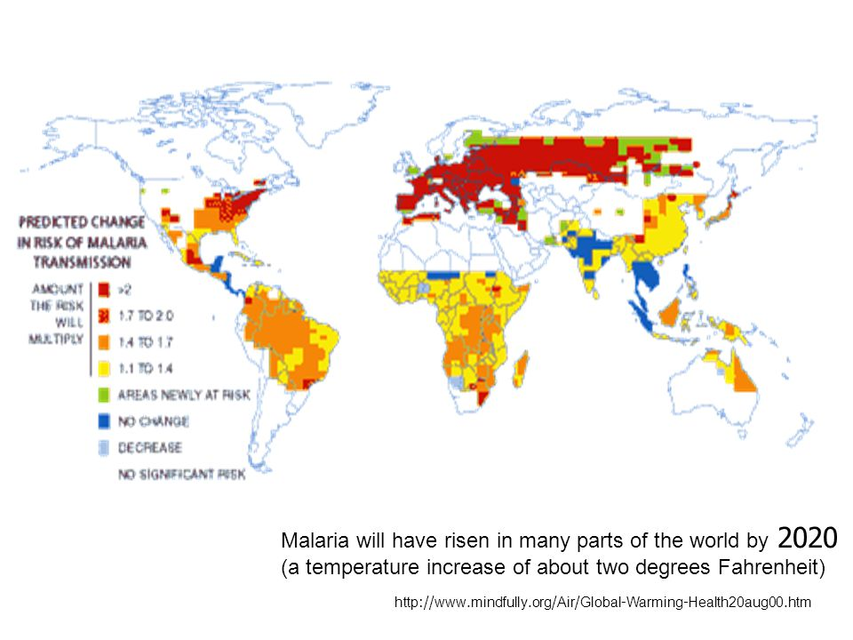 http://www.mindfully.org/Air/Global-Warming-Health20aug00.htm Malaria will have risen in many parts of the world by 2020 (a temperature increase of ab