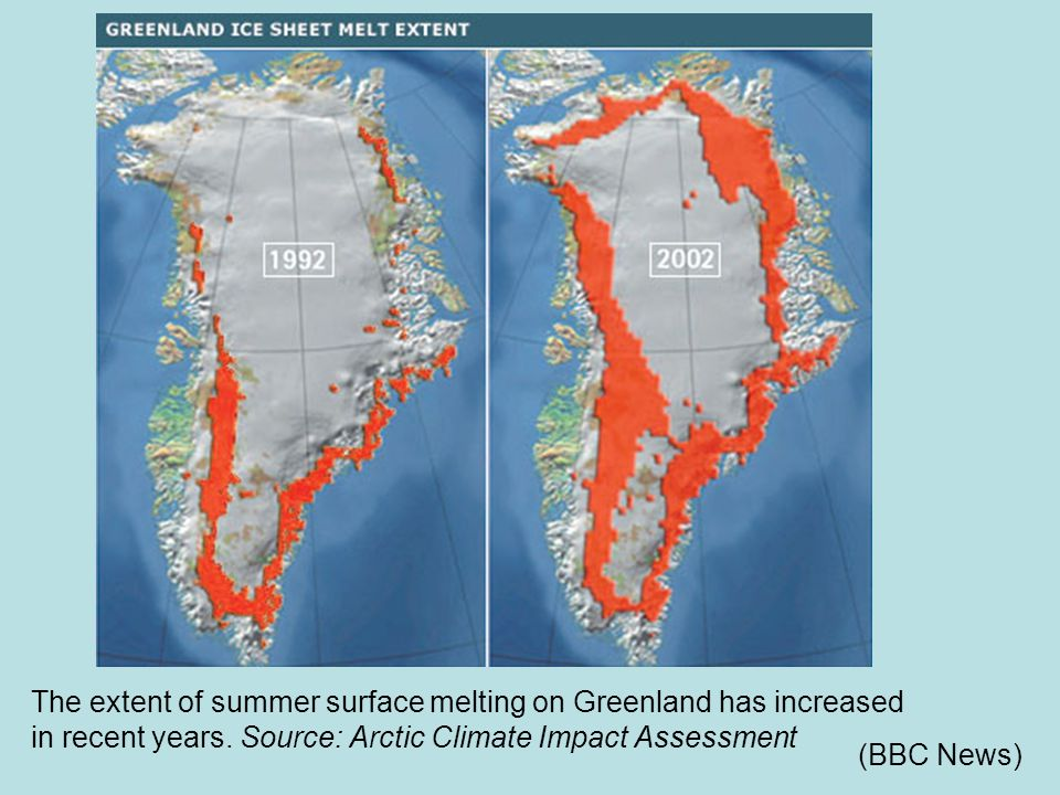 The extent of summer surface melting on Greenland has increased in recent years. Source: Arctic Climate Impact Assessment (BBC News)