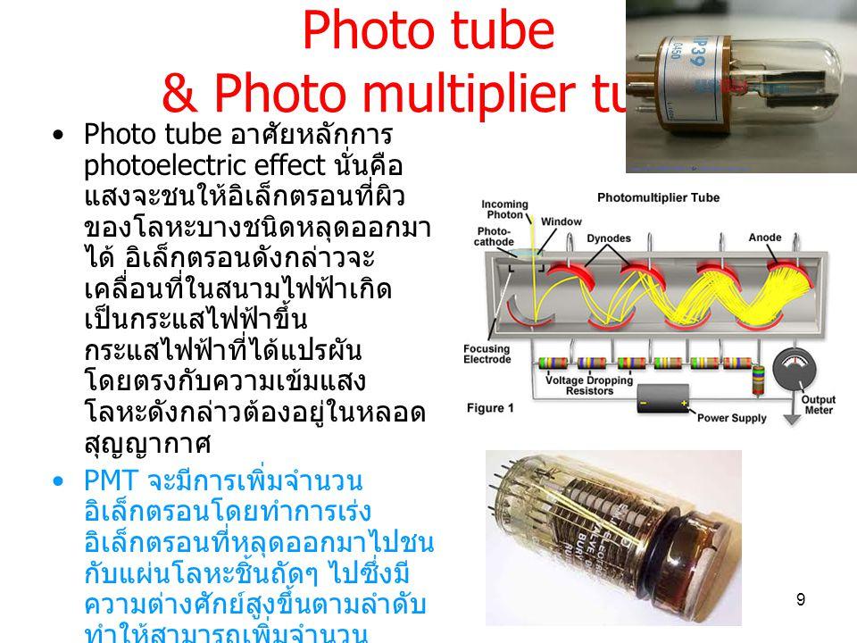 Photo tube & Photo multiplier tube Photo tube อาศัยหลักการ photoelectric effect นั่นคือ แสงจะชนให้อิเล็กตรอนที่ผิว ของโลหะบางชนิดหลุดออกมา ได้ อิเล็กตรอนดังกล่าวจะ เคลื่อนที่ในสนามไฟฟ้าเกิด เป็นกระแสไฟฟ้าขึ้น กระแสไฟฟ้าที่ได้แปรผัน โดยตรงกับความเข้มแสง โลหะดังกล่าวต้องอยู่ในหลอด สุญญากาศ PMT จะมีการเพิ่มจำนวน อิเล็กตรอนโดยทำการเร่ง อิเล็กตรอนที่หลุดออกมาไปชน กับแผ่นโลหะชิ้นถัดๆ ไปซึ่งมี ความต่างศักย์สูงขึ้นตามลำดับ ทำให้สามารถเพิ่มจำนวน อิเล็กตรอนขึ้นอย่างมหาศาล ทำให้วัดกระแสได้มากแม้จะมี แสงตกกระทบน้อยมาก ( ให้ sensitivity สูงมาก ) 9