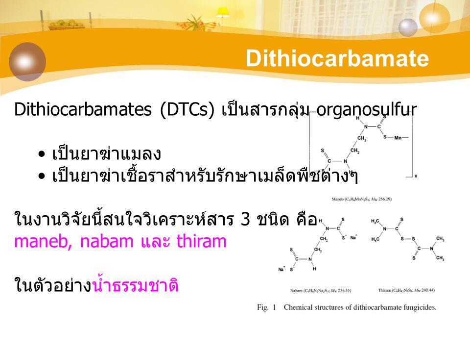 Dithiocarbamate Dithiocarbamates (DTCs) เป็นสารกลุ่ม organosulfur เป็นยาฆ่าแมลง เป็นยาฆ่าเชื้อราสำหรับรักษาเมล็ดพืชต่างๆ ในงานวิจัยนี้สนใจวิเคราะห์สาร