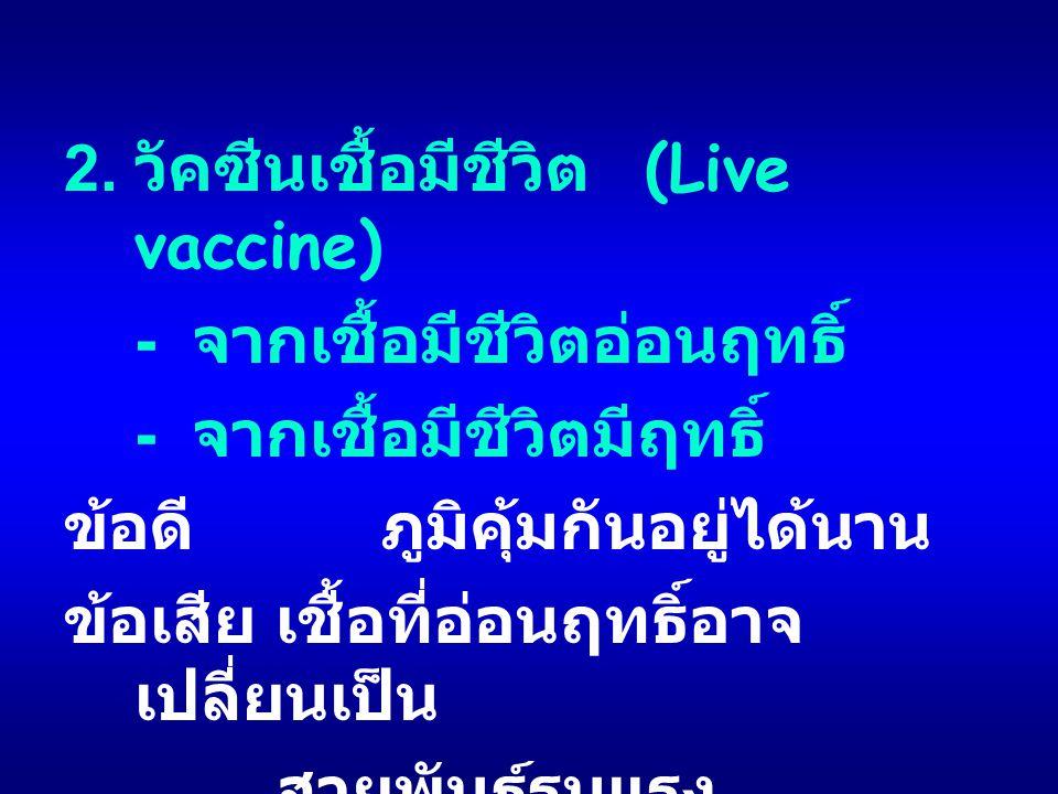2. วัคซีนเชื้อมีชีวิต (Live vaccine) - จากเชื้อมีชีวิตอ่อนฤทธิ์ - จากเชื้อมีชีวิตมีฤทธิ์ ข้อดีภูมิคุ้มกันอยู่ได้นาน ข้อเสียเชื้อที่อ่อนฤทธิ์อาจ เปลี่ย