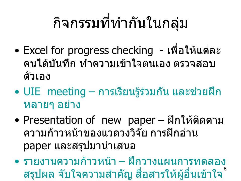 6 กิจกรรมที่ทำกันในกลุ่ม กรณีที่ต้องการฝึกเขียนภาษาอังกฤษสามารถ เขียนรายงานความก้าวหน้าเป็นภาษาอังกฤษ โดยอาจผ่านการเขียนรายงานที่เป็นภาษาไทย เพื่อฝึกสรุปใจความสำคัญให้ได้เสียก่อน การสรุปจับใจความสำคัญ (concept) เป็น สิ่งสำคัญที่ต้องฝึกก่อน – อาจจะตรวจสอบ ตนเองได้จากการสรุปภาพรวมงานวิจัยของ ตนเอง โดยสามารถบอกลักษณะเด่นของงานที่ ตนเองทำ และบอกถึงจุดใหม่ที่จะได้จาก งานวิจัยของตัวเองได้ ( ลองคิดและเขียน ออกมา )