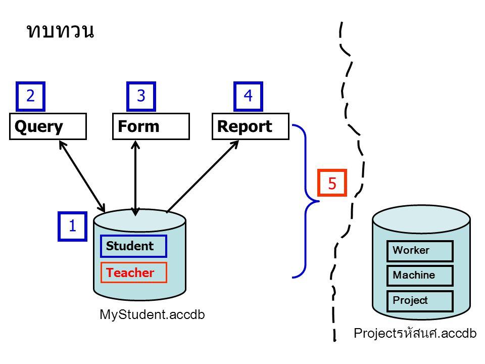 Student QueryReportForm ทบทวน 1 234 5 Teacher MyStudent.accdb Projectรหัสนศ.accdb Worker Machine Project