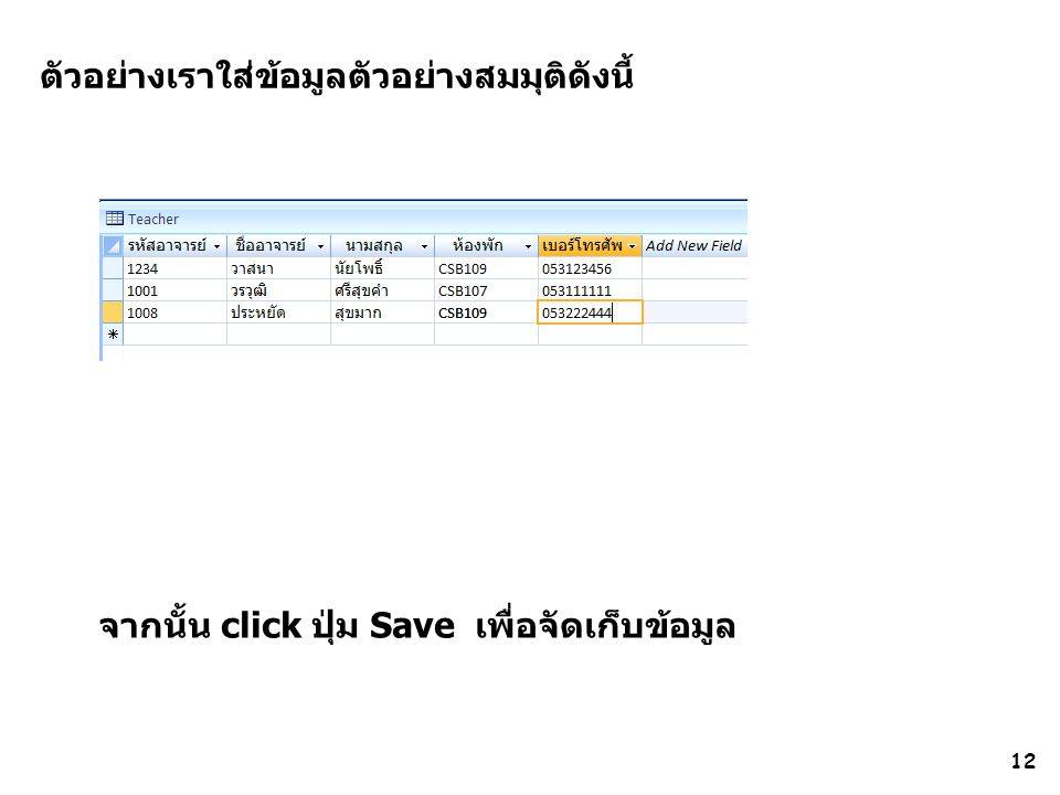 12 ตัวอย่างเราใส่ข้อมูลตัวอย่างสมมุติดังนี้ จากนั้น click ปุ่ม Save เพื่อจัดเก็บข้อมูล
