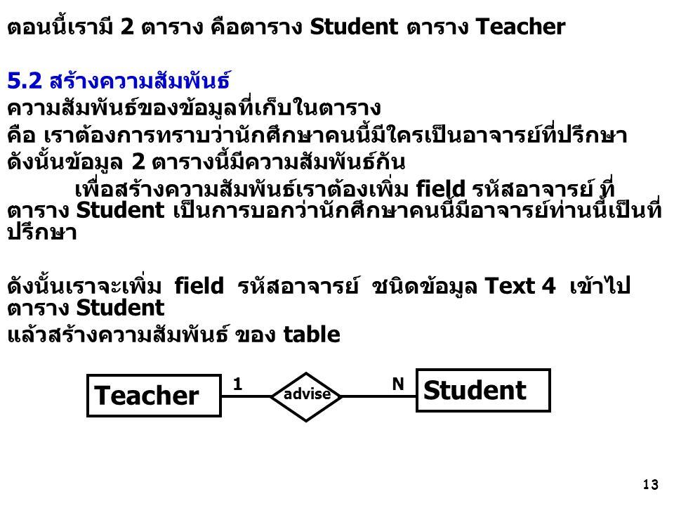 13 ตอนนี้เรามี 2 ตาราง คือตาราง Student ตาราง Teacher 5.2 สร้างความสัมพันธ์ ความสัมพันธ์ของข้อมูลที่เก็บในตาราง คือ เราต้องการทราบว่านักศึกษาคนนี้มีใครเป็นอาจารย์ที่ปรึกษา ดังนั้นข้อมูล 2 ตารางนี้มีความสัมพันธ์กัน เพื่อสร้างความสัมพันธ์เราต้องเพิ่ม field รหัสอาจารย์ ที่ ตาราง Student เป็นการบอกว่านักศึกษาคนนี้มีอาจารย์ท่านนี้เป็นที่ ปรึกษา ดังนั้นเราจะเพิ่ม field รหัสอาจารย์ ชนิดข้อมูล Text 4 เข้าไป ตาราง Student แล้วสร้างความสัมพันธ์ ของ table Student Teacher advise 1N