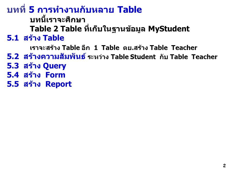 2 บทที่ 5 การทำงานกับหลาย Table บทนี้เราจะศึกษา Table 2 Table ที่เก็บในฐานข้อมูล MyStudent 5.1 สร้าง Table เราจะสร้าง Table อีก 1 Table ตย.สร้าง Table Teacher 5.2 สร้างความสัมพันธ์ ระหว่าง Table Student กับ Table Teacher 5.3 สร้าง Query 5.4 สร้าง Form 5.5 สร้าง Report