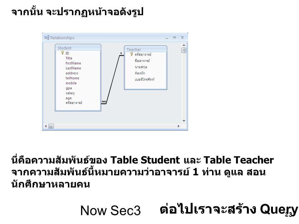 23 จากนั้น จะปรากฏหน้าจอดังรูป นี่คือความสัมพันธ์ของ Table Student และ Table Teacher จากความสัมพันธ์นี้หมายความว่าอาจารย์ 1 ท่าน ดูแล สอน นักศึกษาหลาย