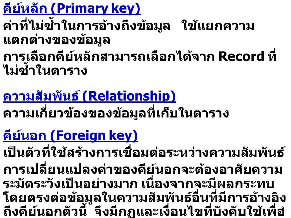 3 คีย์หลัก (Primary key) ค่าที่ไม่ซ้ำในการอ้างถึงข้อมูล ใช้แยกความ แตกต่างของข้อมูล การเลือกคีย์หลักสามารถเลือกได้จาก Record ที่ ไม่ซ้ำในตาราง ความสัมพันธ์ (Relationship) ความเกี่ยวข้องของข้อมูลที่เก็บในตาราง คีย์นอก (Foreign key) เป็นตัวที่ใช้สร้างการเชื่อมต่อระหว่างความสัมพันธ์ การเปลี่ยนแปลงค่าของคีย์นอกจะต้องอาศัยความ ระมัดระวังเป็นอย่างมาก เนื่องจากจะมีผลกระทบ โดยตรงต่อข้อมูลในความสัมพันธ์อื่นที่มีการอ้างอิง ถึงคีย์นอกตัวนี้ จึงมีกฏและเงื่อนไขที่บังคับใช้เพื่อ ทำให้ข้อมูลมีความถูกต้องอยู่เสมอ