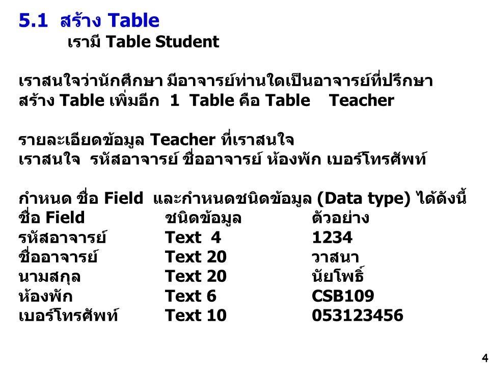 5.1 สร้าง Table เรามี Table Student เราสนใจว่านักศึกษา มีอาจารย์ท่านใดเป็นอาจารย์ที่ปรึกษา สร้าง Table เพิ่มอีก 1 Table คือ Table Teacher รายละเอียดข้อมูล Teacher ที่เราสนใจ เราสนใจ รหัสอาจารย์ ชื่ออาจารย์ ห้องพัก เบอร์โทรศัพท์ กำหนด ชื่อ Field และกำหนดชนิดข้อมูล (Data type) ได้ดังนี้ ชื่อ Field ชนิดข้อมูล ตัวอย่าง รหัสอาจารย์ Text 4 1234 ชื่ออาจารย์ Text 20วาสนา นามสกุลText 20นัยโพธิ์ ห้องพัก Text 6CSB109 เบอร์โทรศัพท์Text 10053123456 4