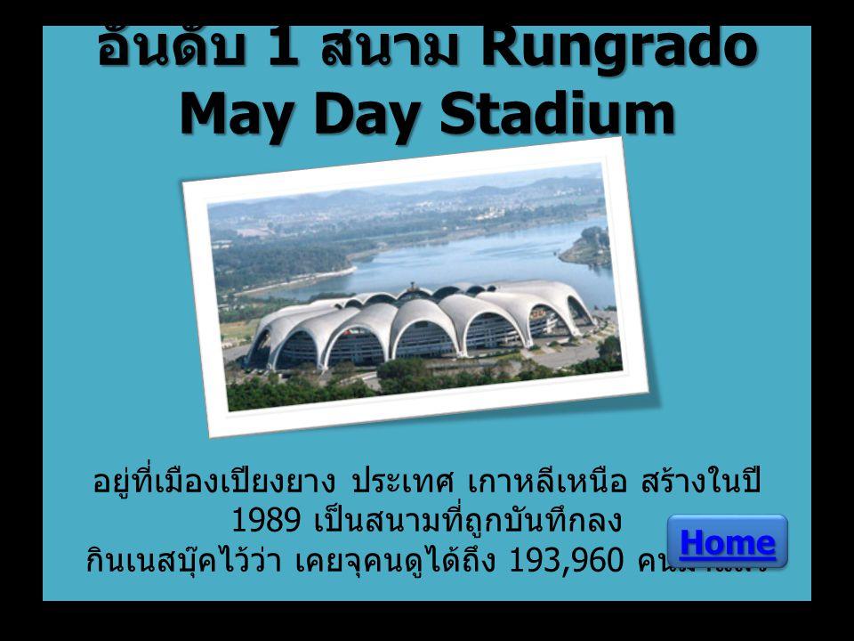 อันดับ 1 สนาม Rungrado May Day Stadium อันดับ 1 สนาม Rungrado May Day Stadium อยู่ที่เมืองเปียงยาง ประเทศ เกาหลีเหนือ สร้างในปี 1989 เป็นสนามที่ถูกบัน