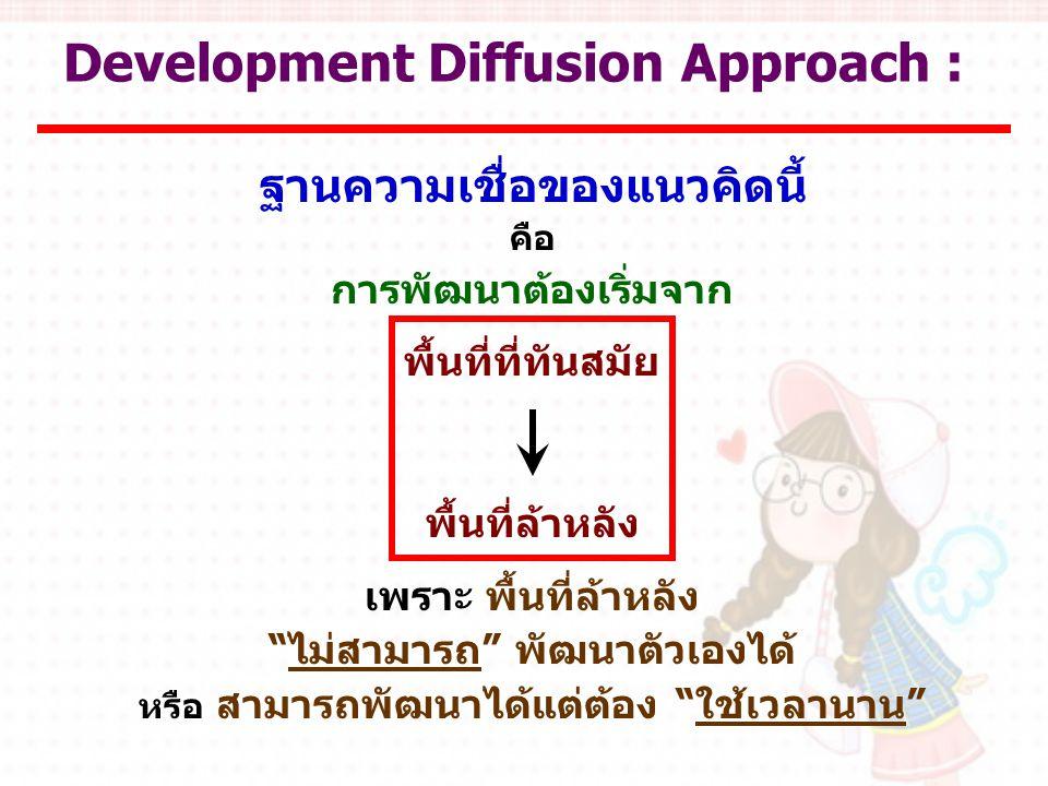 Development Diffusion Approach : ฐานความเชื่อของแนวคิดนี้ คือ การพัฒนาต้องเริ่มจาก พื้นที่ที่ทันสมัย พื้นที่ล้าหลัง เพราะ พื้นที่ล้าหลัง ไม่สามารถ พัฒนาตัวเองได้ หรือ สามารถพัฒนาได้แต่ต้อง ใช้เวลานาน