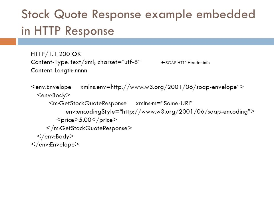 """Stock Quote Response example embedded in HTTP Response HTTP/1.1 200 OK Content-Type: text/xml; charset=""""utf-8""""  SOAP HTTP Header info Content-Length:"""