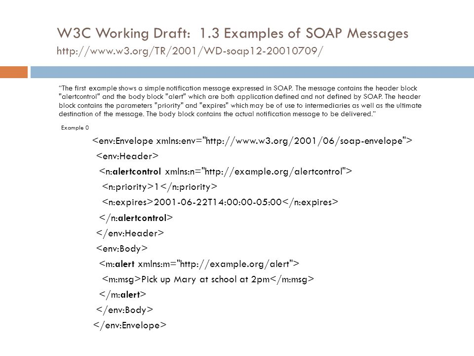 "W3C Working Draft: 1.3 Examples of SOAP Messages http://www.w3.org/TR/2001/WD-soap12-20010709/ ""The first example shows a simple notification message"