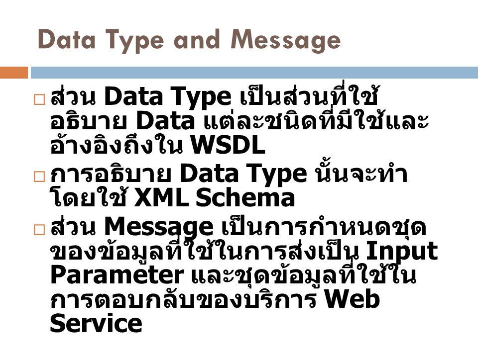 Data Type and Message  ส่วน Data Type เป็นส่วนที่ใช้ อธิบาย Data แต่ละชนิดที่มีใช้และ อ้างอิงถึงใน WSDL  การอธิบาย Data Type นั้นจะทำ โดยใช้ XML Sch