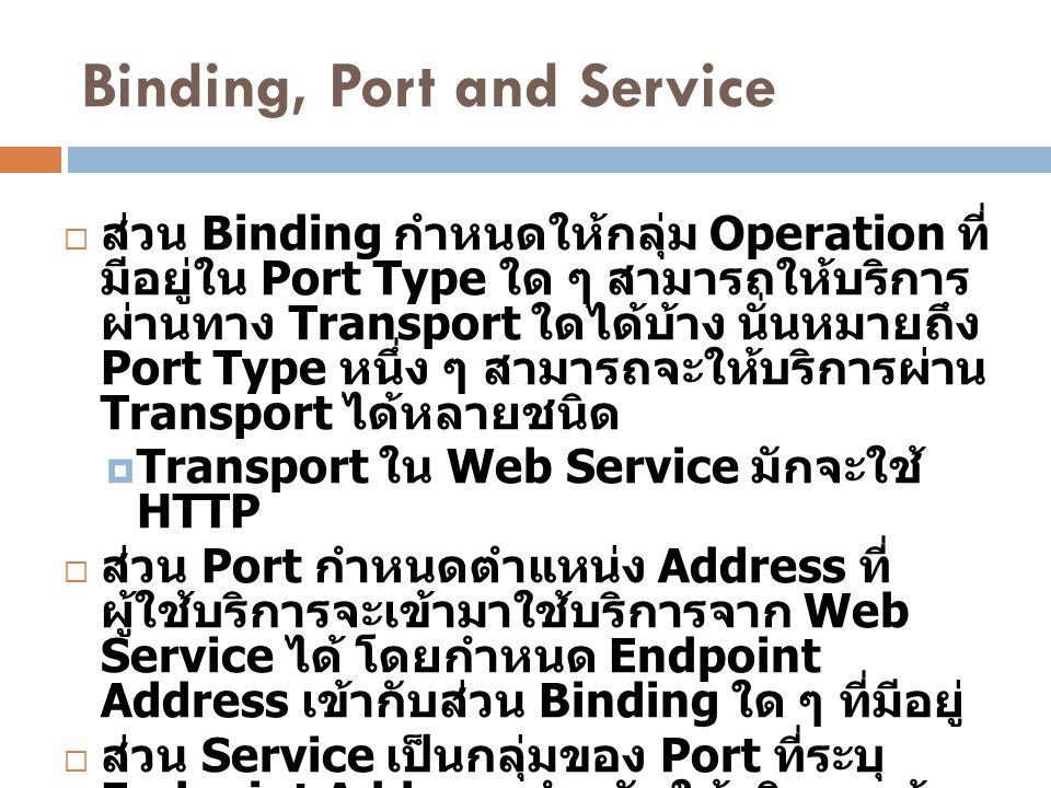 Binding, Port and Service  ส่วน Binding กำหนดให้กลุ่ม Operation ที่ มีอยู่ใน Port Type ใด ๆ สามารถให้บริการ ผ่านทาง Transport ใดได้บ้าง นั่นหมายถึง P