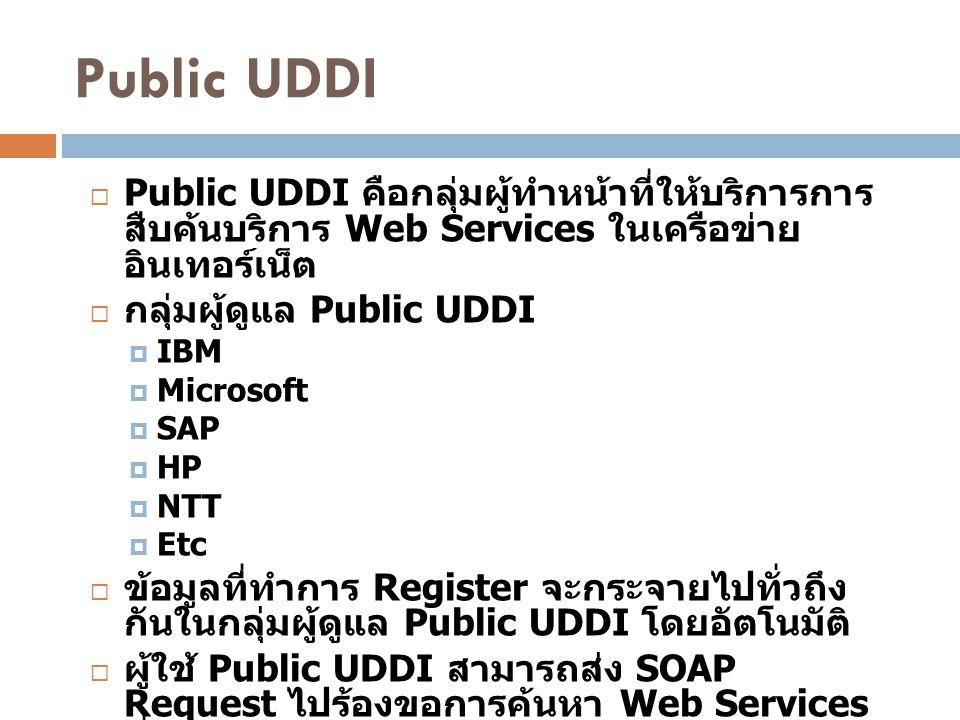 Public UDDI  Public UDDI คือกลุ่มผู้ทำหน้าที่ให้บริการการ สืบค้นบริการ Web Services ในเครือข่าย อินเทอร์เน็ต  กลุ่มผู้ดูแล Public UDDI  IBM  Micro