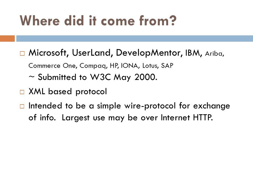 Binding, Port and Service  ส่วน Binding กำหนดให้กลุ่ม Operation ที่ มีอยู่ใน Port Type ใด ๆ สามารถให้บริการ ผ่านทาง Transport ใดได้บ้าง นั่นหมายถึง Port Type หนึ่ง ๆ สามารถจะให้บริการผ่าน Transport ได้หลายชนิด  Transport ใน Web Service มักจะใช้ HTTP  ส่วน Port กำหนดตำแหน่ง Address ที่ ผู้ใช้บริการจะเข้ามาใช้บริการจาก Web Service ได้ โดยกำหนด Endpoint Address เข้ากับส่วน Binding ใด ๆ ที่มีอยู่  ส่วน Service เป็นกลุ่มของ Port ที่ระบุ Endpoint Address สำหรับให้บริการแล้ว ผู้ใช้บริการ Service Consumer ที่อยู่ ภายนอกสามารถอ้างถึง Service นี้ได้